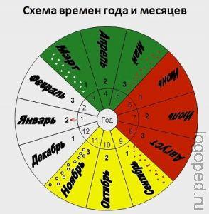 Схема времен года и месяцев.