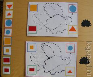 Дидактическое упражнение 'Дорожки'   на развитие прослеживающей функции глаз, зрительно-двигательной координации,   цветоразличения, умения строить развернутые высказывания. Фото 1.
