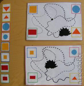 Дидактическо упражнение 'Дорожки'   на развитие прослеживающей функции глаз, зрительно-двигательной координации,   цветоразличения, умения строить развернутые высказывания. Фото 2.