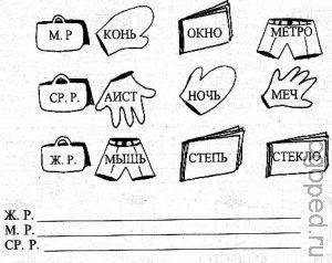 Логопедическое упражнение 'Род имен сужествительных'.